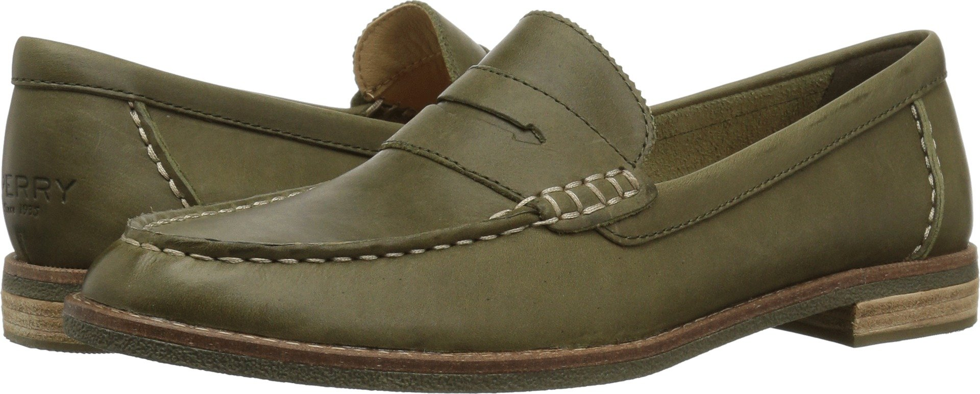 Sperry Top-Sider Women's Seaport Penny Loafer, Olive, 7.5 M US