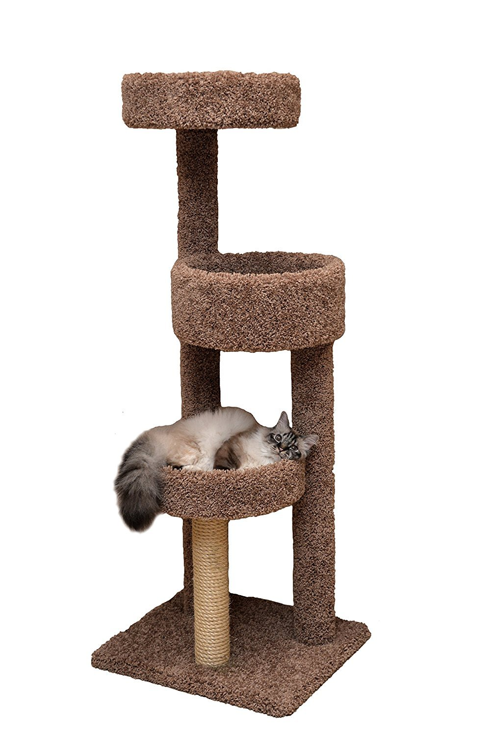 Miller's Cats 1010 Rest Stop Cat Furniture with 3 Plush Carpeted Platforms, Brown, 60''