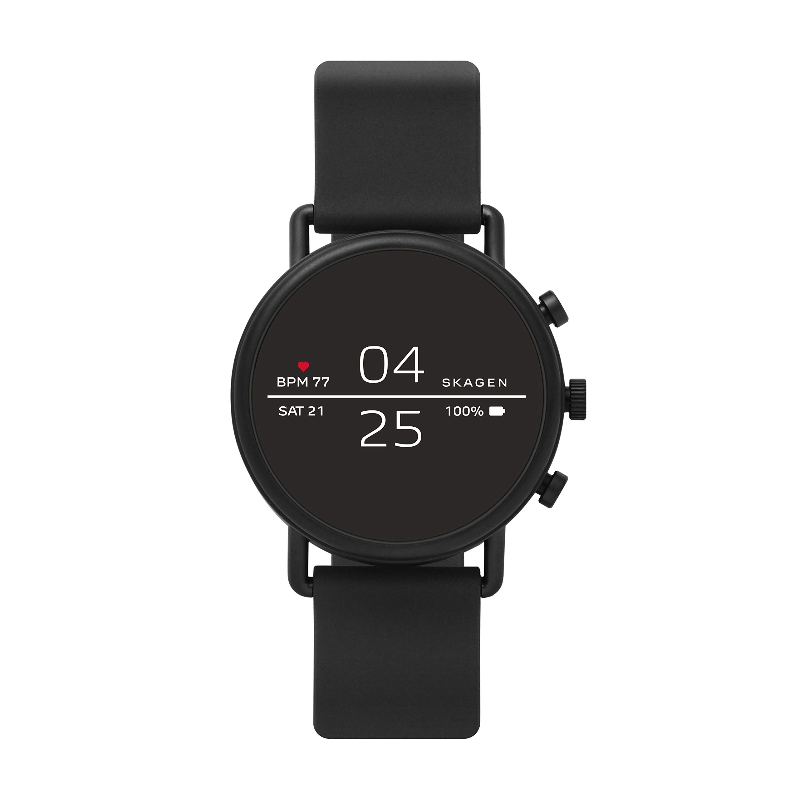 Skagen Connected Falster 2 Stainless Steel and Silicone Touchscreen Smartwatch, Color: Black (Model: SKT5100) by Skagen