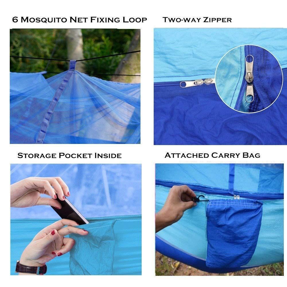 YunNasi Hamac Camping Moustiquaire Portable Ultra-l/éger de Voyage Ext/érieur Randonn/ée P/édestre /à Double Usage 200kg de Charge Capacit/é Parachute en Nylon 2 Sangles dArbres Carabiners Cordes