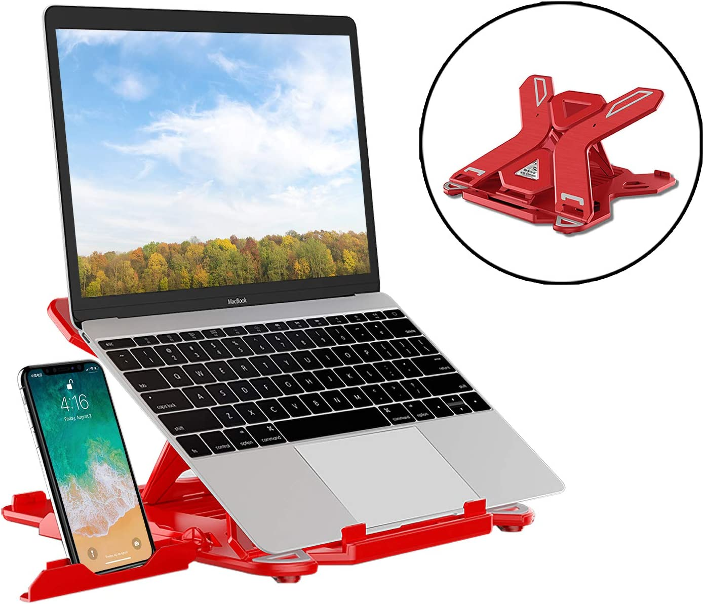 Red SEA or STAR Laptop Stand Adjustable 360/°Swivel Computer Stand with Phone Holder Compatible with iMac//Laptop//Tablet 10-15.6