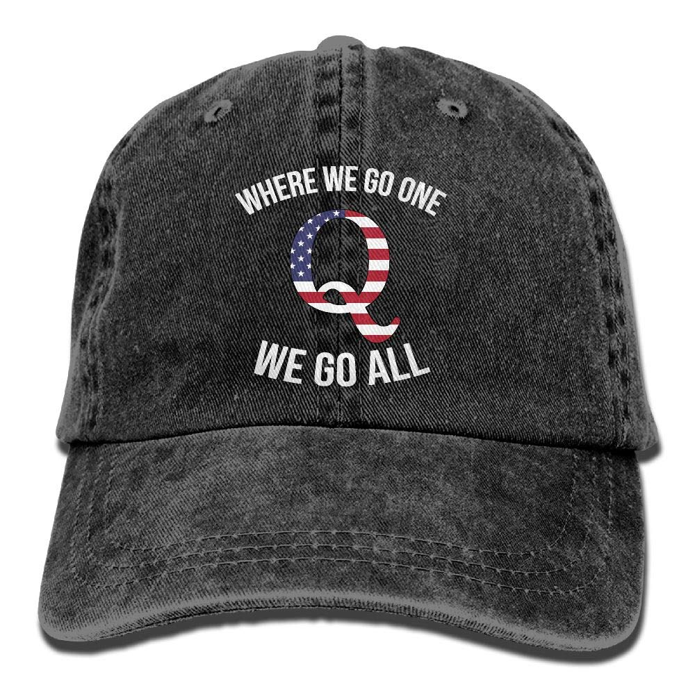Q Anon Where We Go One We Go All Vintage Washed Dyed Dad Hat Adjustable Baseball Hat … Black