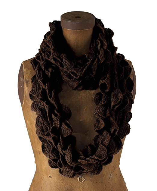 2a57e01bfd7c3 Chic Ruffle Knit Infinity Loop Scarf - Chocolate Brown at Amazon ...