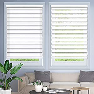 """MiLin Window Blinds Zebra Dual Sheer Shades Custom Cut to Size, Light Filtering Zebra Roller Shades for Home Light Control and Privacy - Snow White 34"""" W x 72"""" H"""