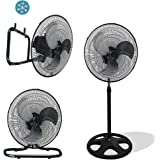 """Unique Imports Premium Large High Velocity Industrial Floor Fan 18"""" Floor Stand Mount Oscillating - Cool Black & Silver"""