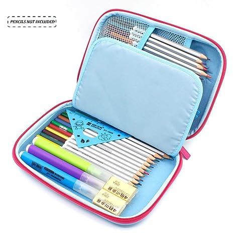 Estuche, Anti Choque Gran Capacidad Multi-compartimiento para la Escuela Estudiantes Chicas Adolescentes Niños (azul): Amazon.es: Oficina y papelería