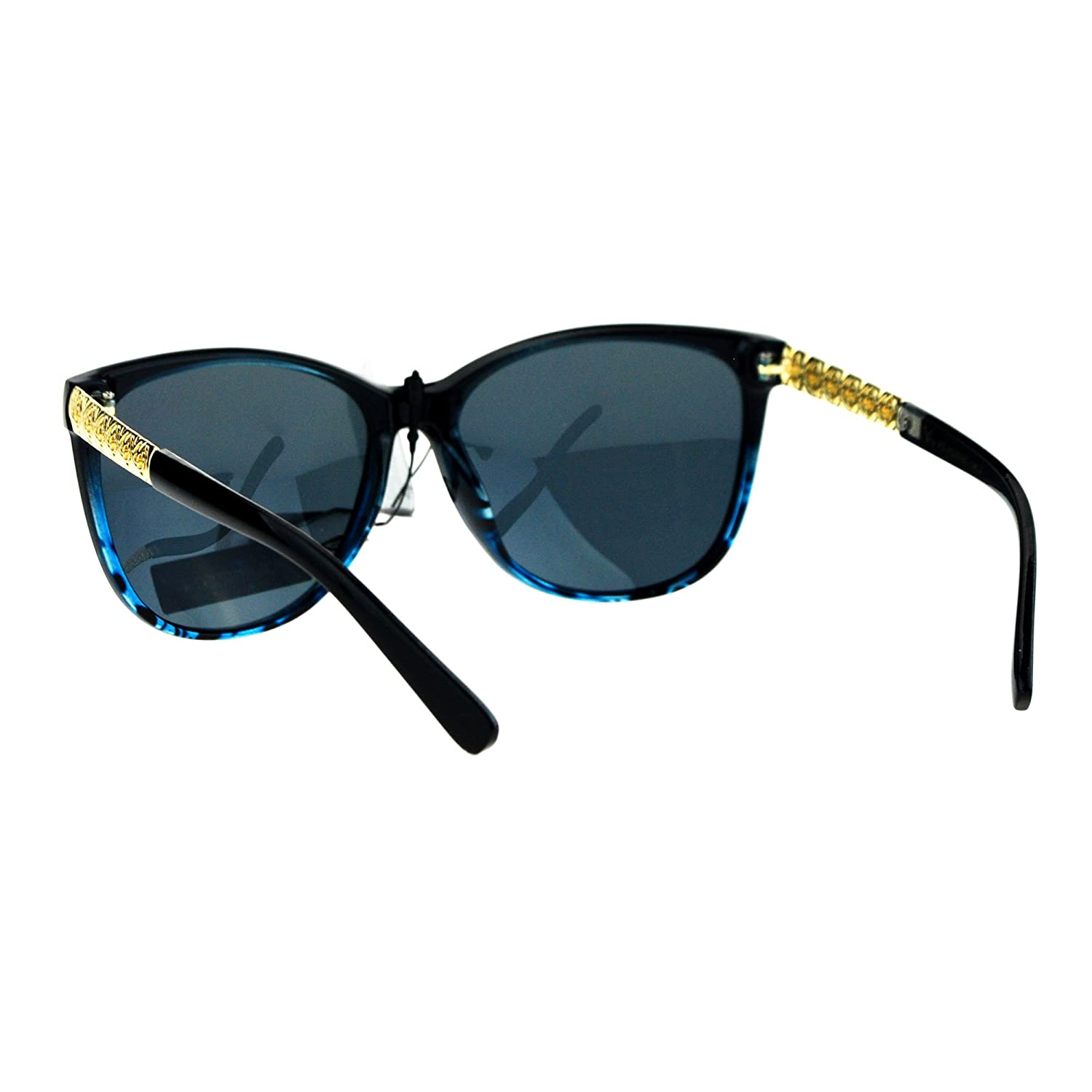 ac2eb27cee Amazon.com  Polarized Lens Floral Metal Jewel Arm Large Cat Eye Womens Sunglasses  Black Blue  Clothing