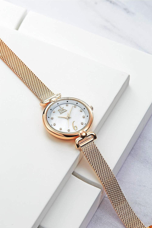 Amazon.com: SHENGKE Creative Simplicity Women Watch Mesh Band Elegant Women Watches Ladies Business Wristwatch (K0002-Rosegold-Mesh Band): Watches