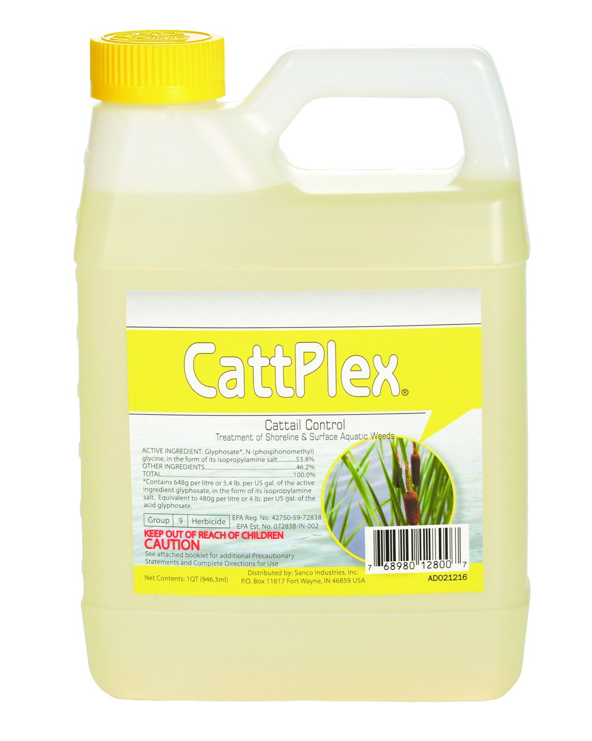 Sanco Industries Catt Plex Herbicide - Aquatic Grade - Works on Cattails, Pond Weeds, Water Lilies, Grass - One Quart 32oz by Sanco Industries