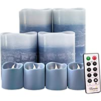 Blue Decorative Flameless Candles Remote Controlled Set of 8, Furora LIGHTING LED Pillar Candles and Votive Candles…