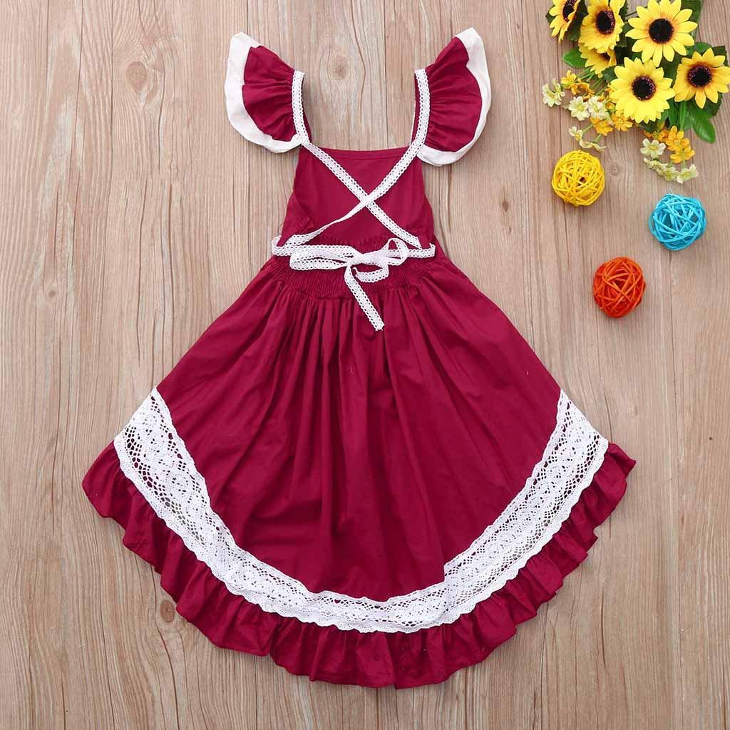 Summer Toddler Princess Dress Fartido Baby Girls Sleeveless Open Back Irregular Skirt Formal Dress