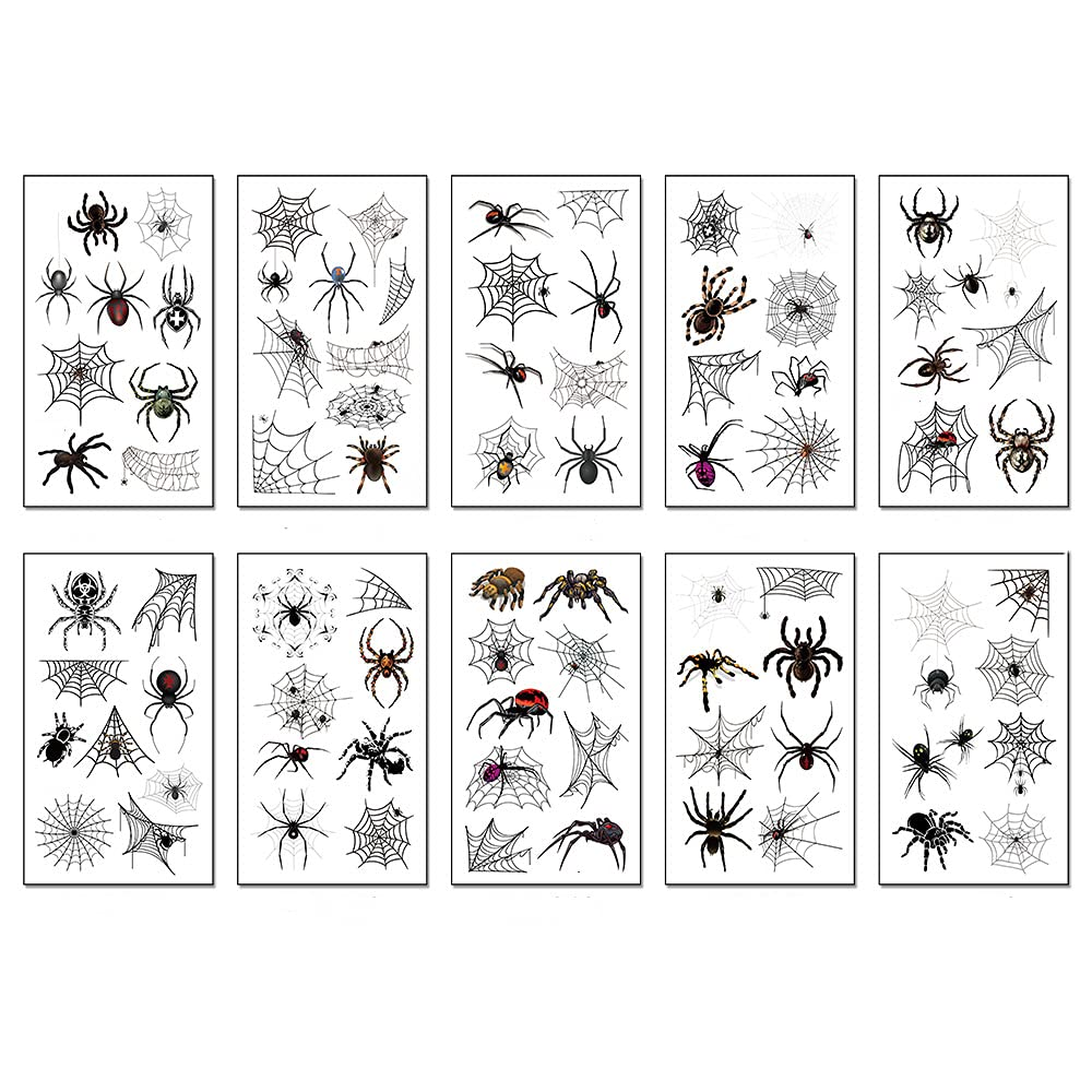 Kiddle Halloween Temporary Tattoo Stickers Removable Fake 3D Stickers Party Decorations for Adult and Kids Gift (10 sheets)
