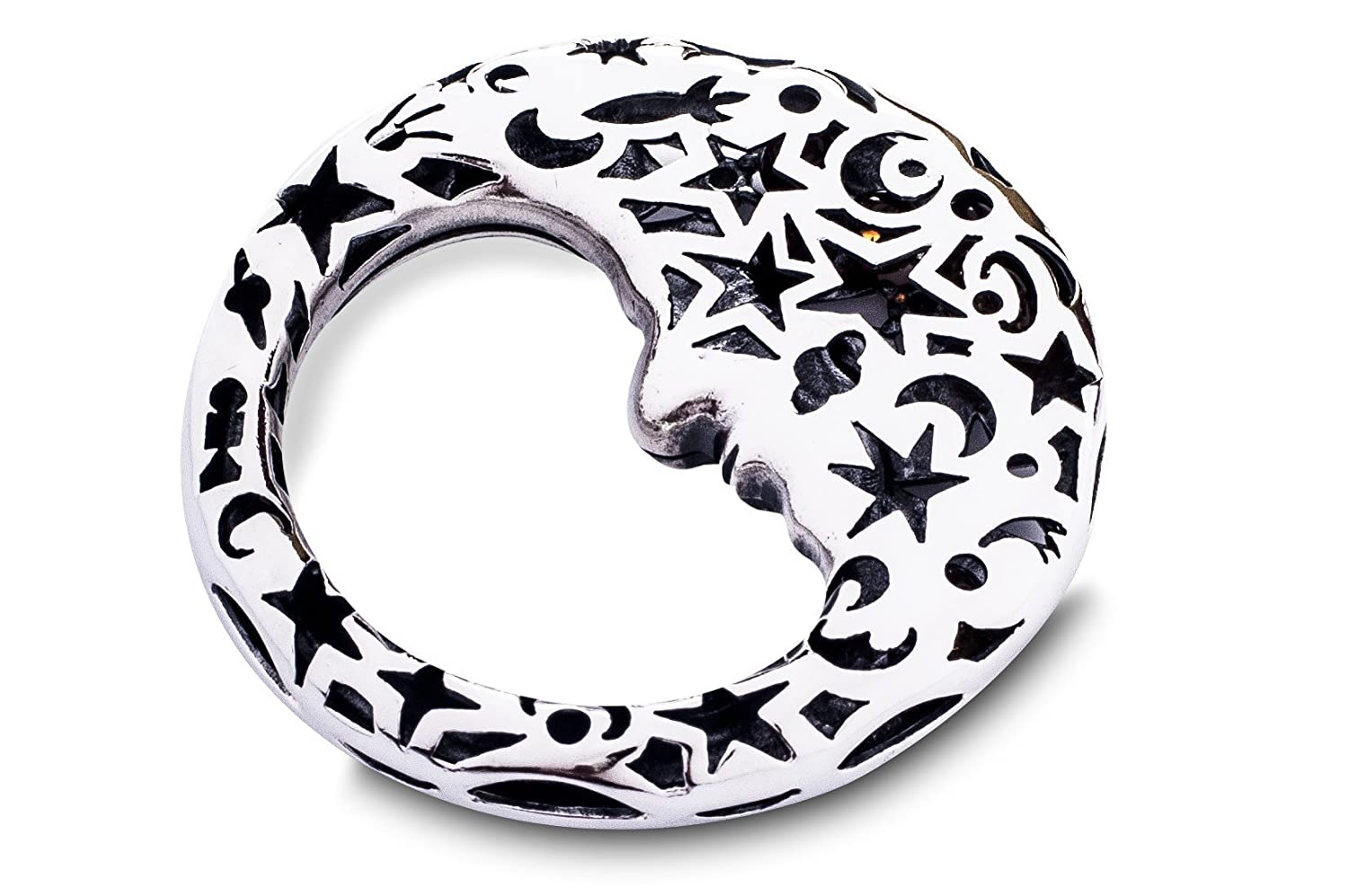 Hand-made Sterling Silver Moon Baby Rattle by Lilu & Co L-01