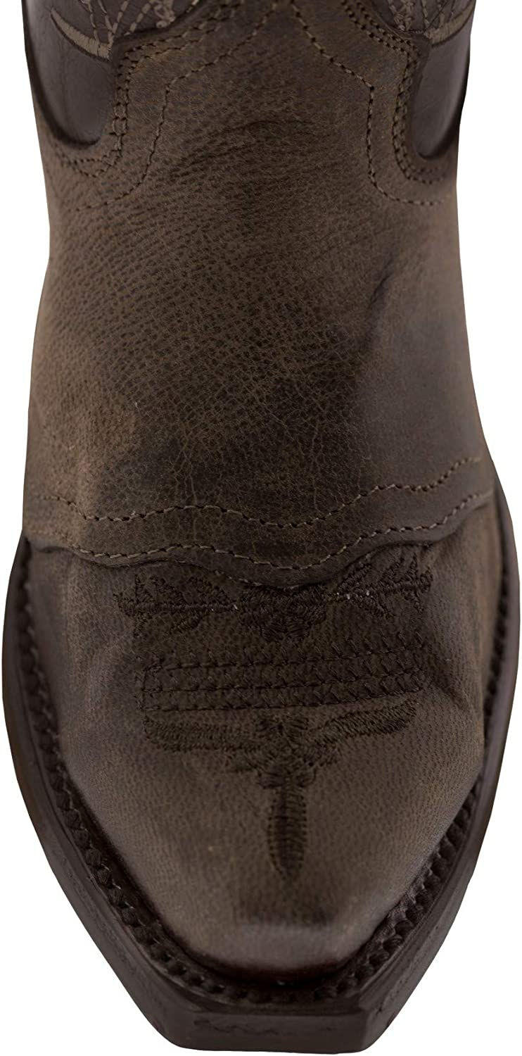 Girls Dark Brown Flower Embroidery Western Leather Cowgirl Boots Snip Toe
