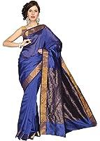 e-VASTRAM Women Chanderi Plain Saree (MPB, Blue)