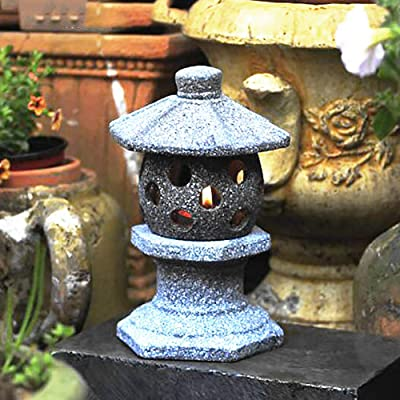 zenggp Pagoda Japanese Garden Lantern Lmitation Stone Effect Hand Carved Garden Decoration Statue,D+30cm: Home & Kitchen