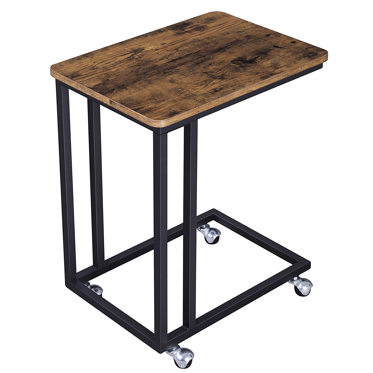 SONGMICS Vintage Snack Side Table, Mobile End Table for Coffee Laptop Tablet, Slides Next to Sofa Couch, Wood Look Accent Furniture with Metal Frame and Rolling Casters ULNT50X