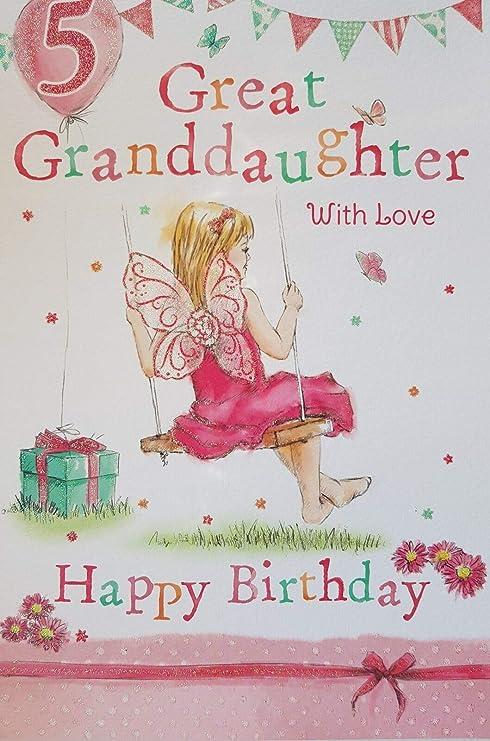 Amazon.com: Gran nieta 5th 5 hoy feliz cumpleaños tarjeta ...
