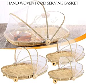 Hand-Woven Food Serving Basket Dustproof Round Picnic Basket Food Tent Basket with Mesh Gauze Cover Yarn Basket With Gauze Insect-proof Drying Basket for Vegetable Fruit Bread 【3 Sizes】 (Square M)