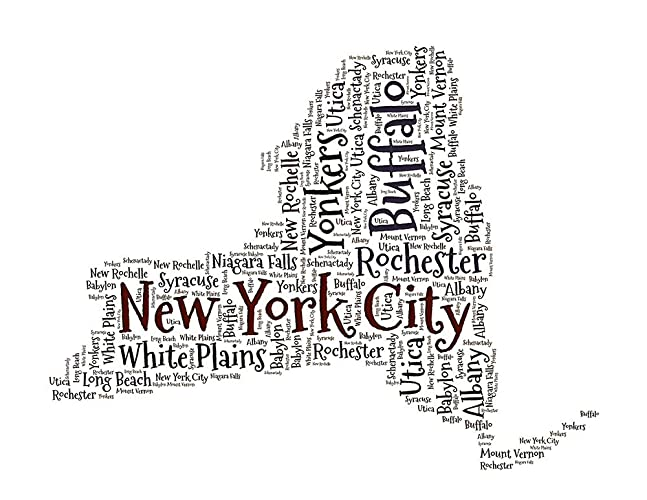 Amazon com: New York Art, NY City State Map Word Cloud Wall
