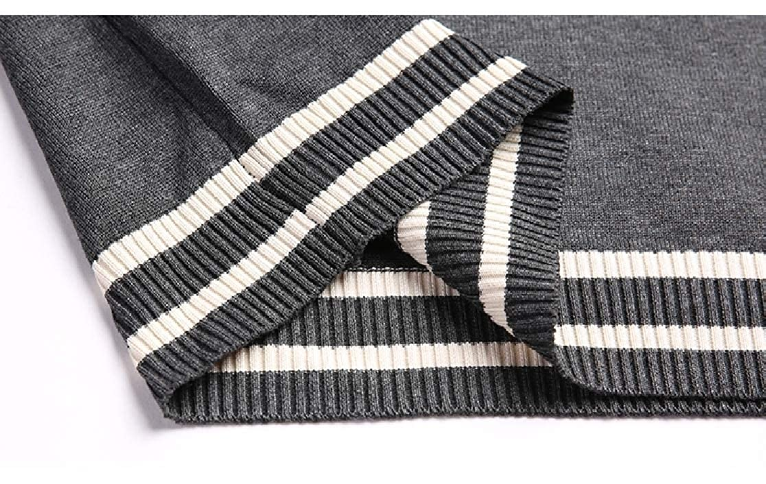 Comaba Mens V Neck Comfort Striped Long Sleeves Sweater Pullover