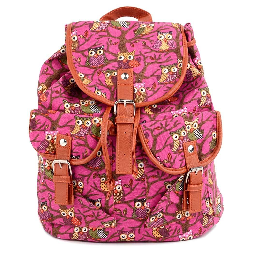 Morral - bolso de lona mochila ordenador bolsa mochila mochila Colegio All4youcon buhos Pattern(Rose): Amazon.es: Equipaje