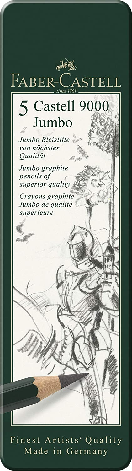 Including HB 2B Faber-Castell 5 Piece Quality Castell 9000 Jumbo Graphite Pencils Blister Card Set 6B and 8B 4B 119397