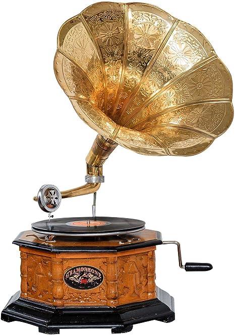 d Gramophone avec pavillon pour disque 78 tours style antique