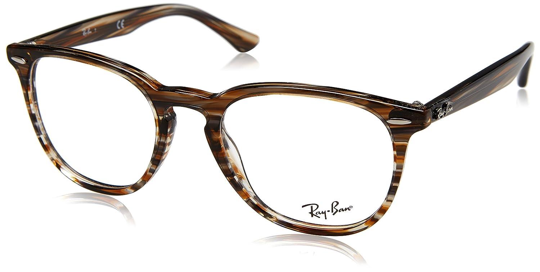 e402106d64e Amazon.com  Ray-Ban 0rx7159 No Polarization Square Prescription Eyewear  Frame Brown Grey Striped 52 mm  Clothing