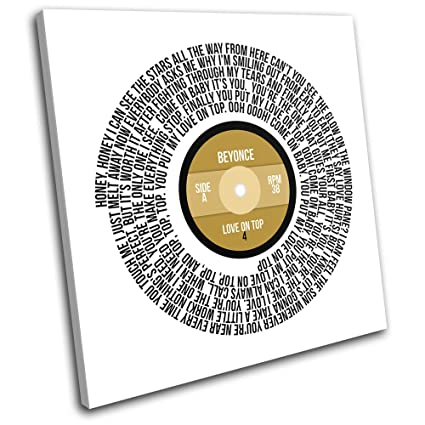 Bold Bloc Design Beyonce Love On Top Song Record Lyrics Vinyl Musical 40x40cm Single Canvas Art Print Box Framed Picture Wall Hanging Hand Made In The
