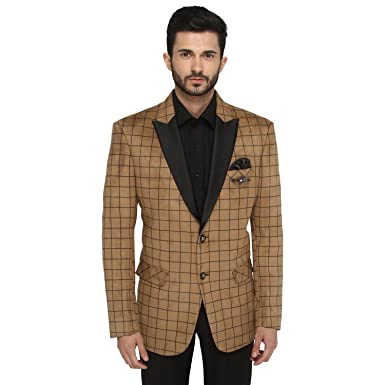 Greenfibre Men s Checks Light Brown Blazer  Amazon.in  Clothing    Accessories 01d4f68927d1