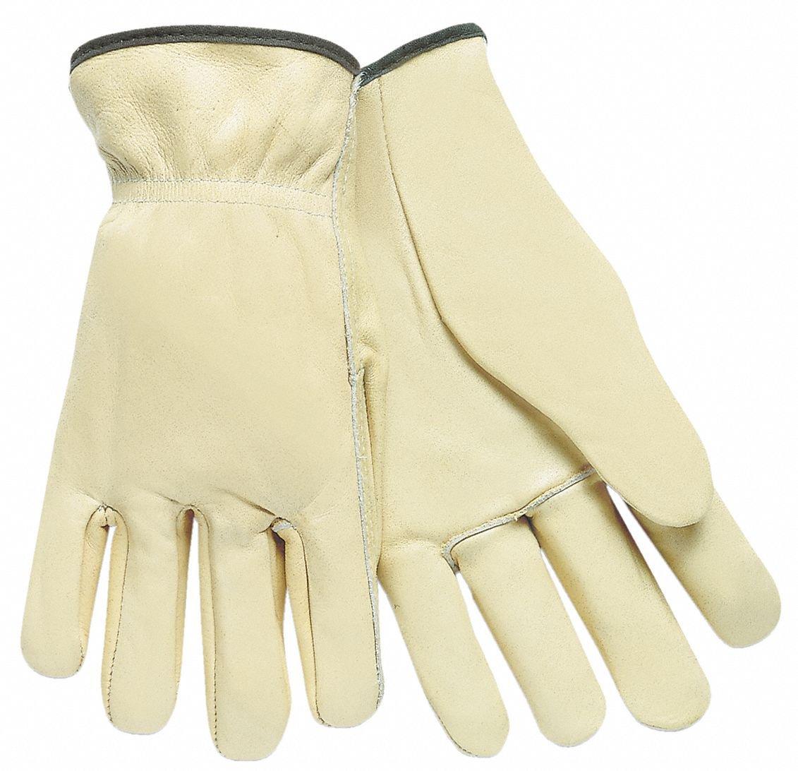 Cowhide Leather Work Gloves, Slip-On Cuff, Cream, Glove Size: L