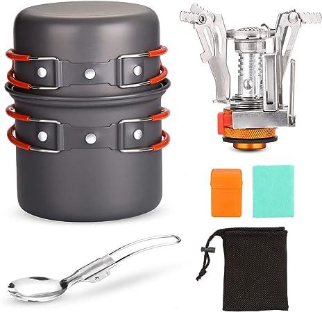 Odoland Kit de Utensilios de Cocina para Acampar con Ollas Camping y Sartén en Aluminio Anodizado No Tóxico, Estufa Trekking y Cuchara Plegable - Set ...