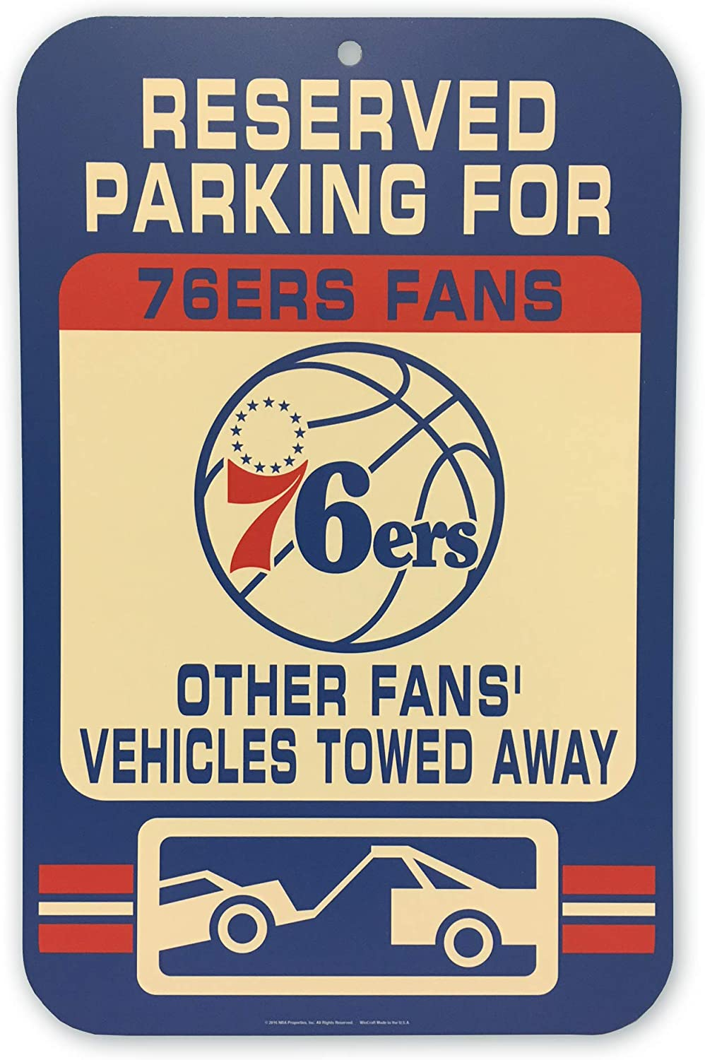 WinCraft NBA Philadelphia 76Ers Reversed Parking Sign, 11 x 17-inches