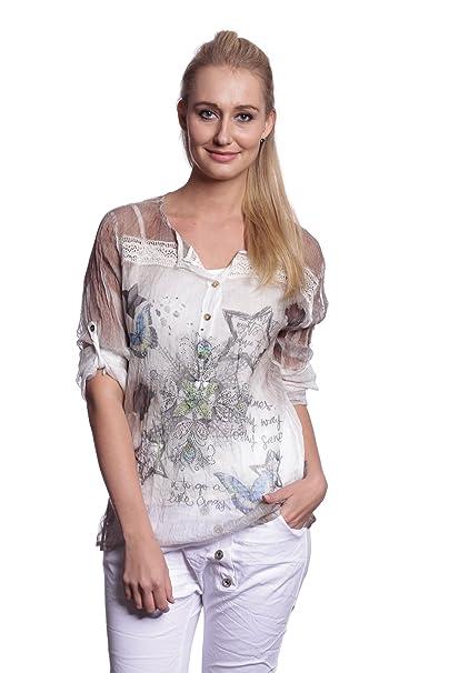 Abbino 10209 Blusa Top para Mujer 3 Colores - Entretiempo Primavera Verano Otoño Mujer Femeninas Elegantes