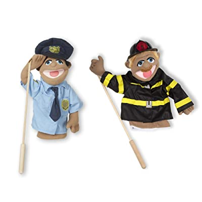Melissa & Doug Rescue Puppet Set - Police Officer and Firefighter: Melissa & Doug: Toys & Games