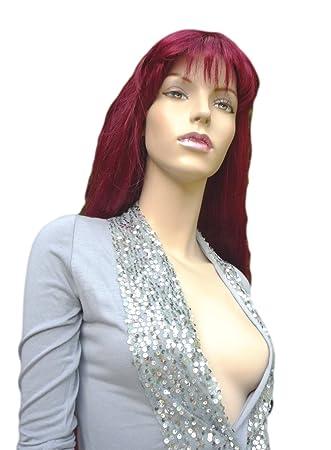 Todos los colores disponibles! Peluca Extra Larga Apariencia Cabello Real Tributo A Cher Gótica Rojo Rubí: Amazon.es: Belleza
