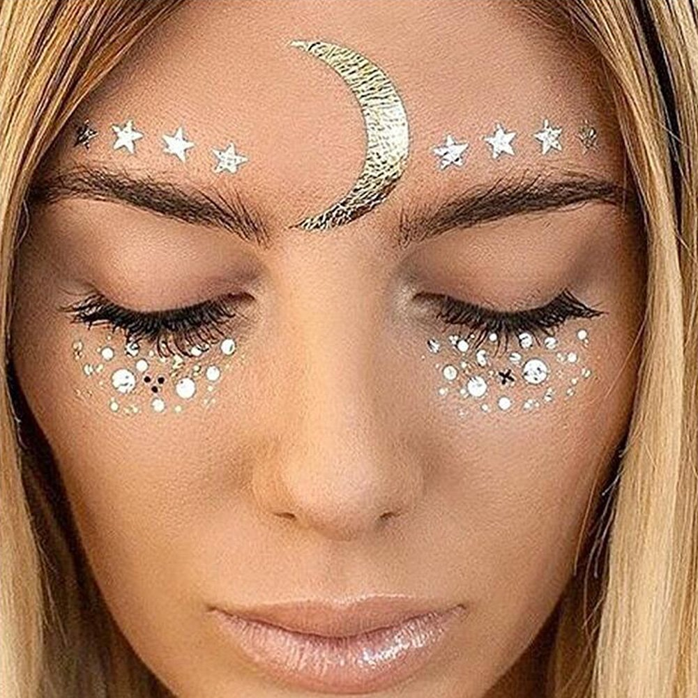 Yuccer Face Sticker, Metallic Temporary Tattoos Freckle Glitter Tattoos Gems Halloween Festival Party Make Up Accessories Gold 2 Pack (F17)