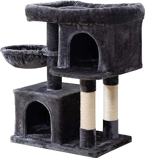 IBUYKE Árbol para Gato 84cm Torre de Escalada con Plataformas, Cesta Flotante, Caseta para Gatos, Poste De Rascar De Sisal Natural, Gris Ahumado ...