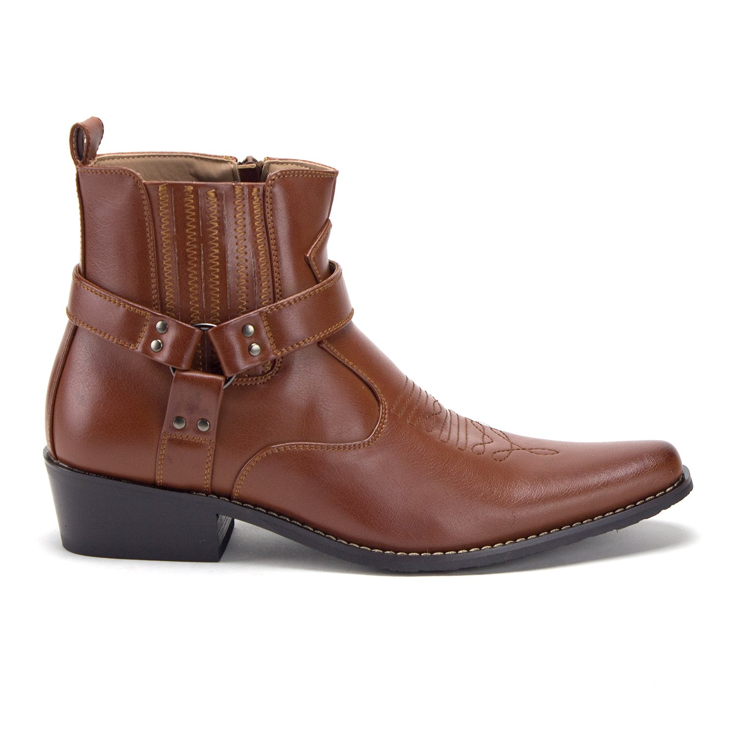Jazame Mens Western Ankle High Cowboy Motorcycle Riding Pointy Toe Moto Dress Boots