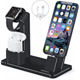 Apple Watch Stand,iPhone and AirPods Dock,SENZLE 4 in 1 Aluminum Desk Charger Stand Dock Station for Apple iWatch Series 3/2/1 /Airpods/iPhone X/8/8 Puls/7/6/iPad Mini,【Night Stand Mode】 (Black)