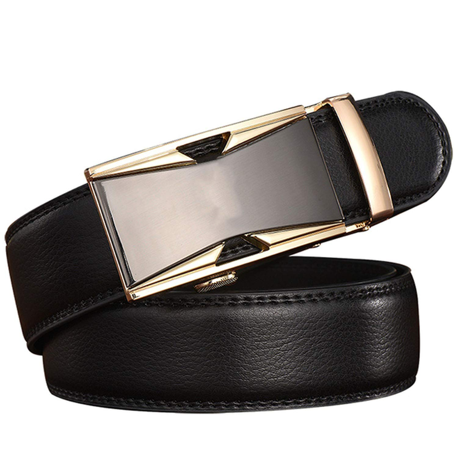 Automatic Belts Leather Genuine Men Male Buckle Solid Metal Accessories Adults
