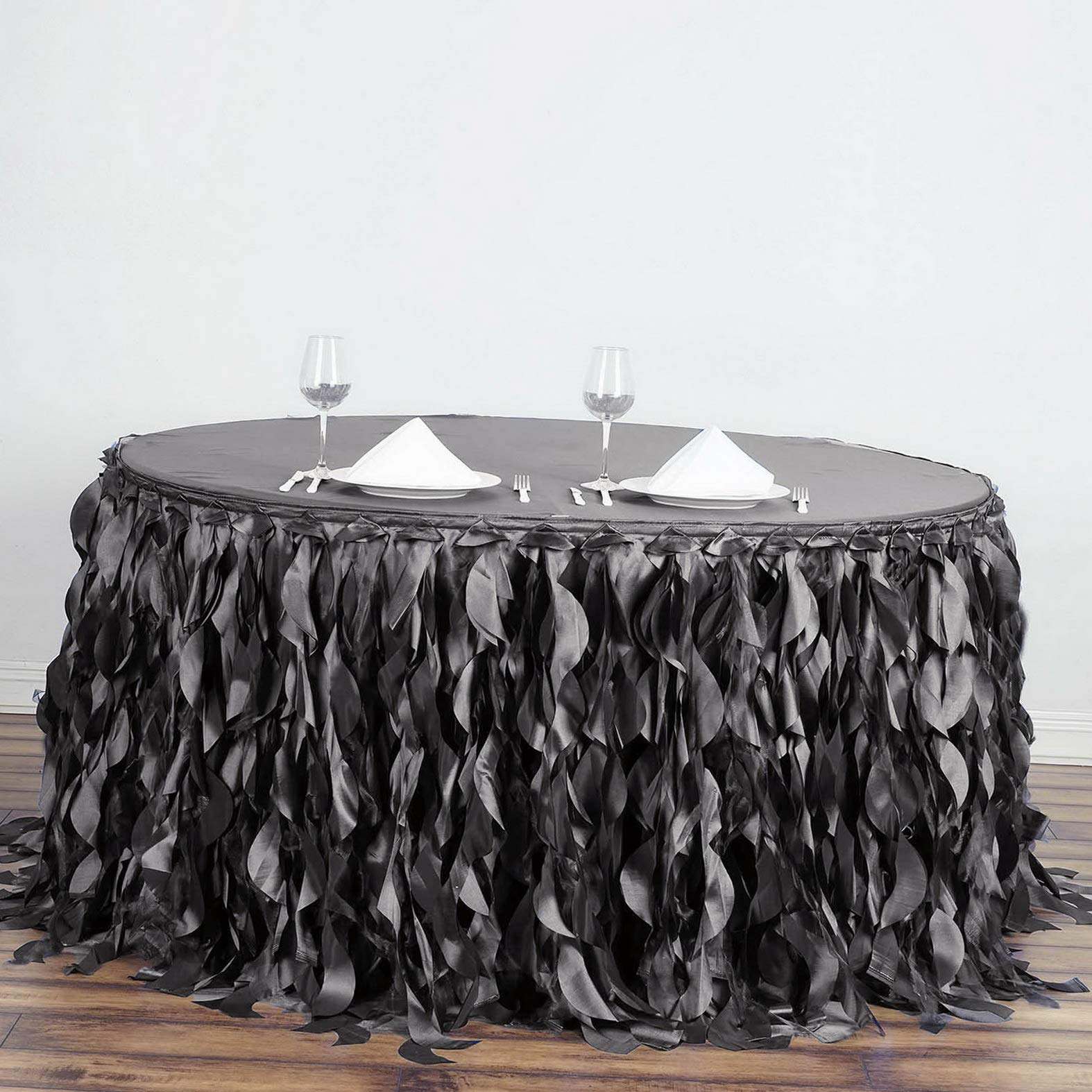 Mikash 17 feet x 29 Taffeta Curly Banquet Table Skirt Party Wedding Booth Decorations | Model WDDNGDCRTN - 18436 |