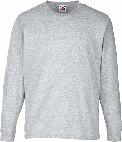 Fruit of the Loom Kids Long Sleeve Valueweight Tee White 3-4 Yrs