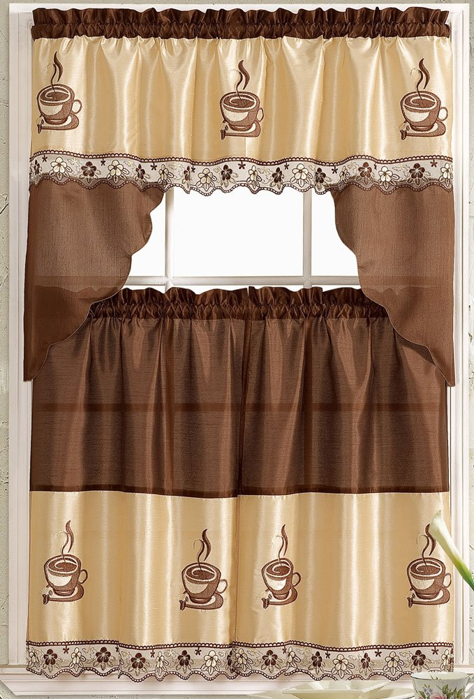 Coffee Embroidered Kitchen Curtain Tiers & Swag Set Brown-beige - 60x36 & 30x36 by LiveDeco COFFEE-KC