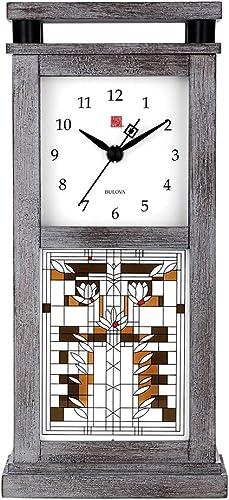 Bulova Frank Lloyd Wright B4835 Waterlilies Bluetooth Wireless Speaker Clock, 9.75 , Grey