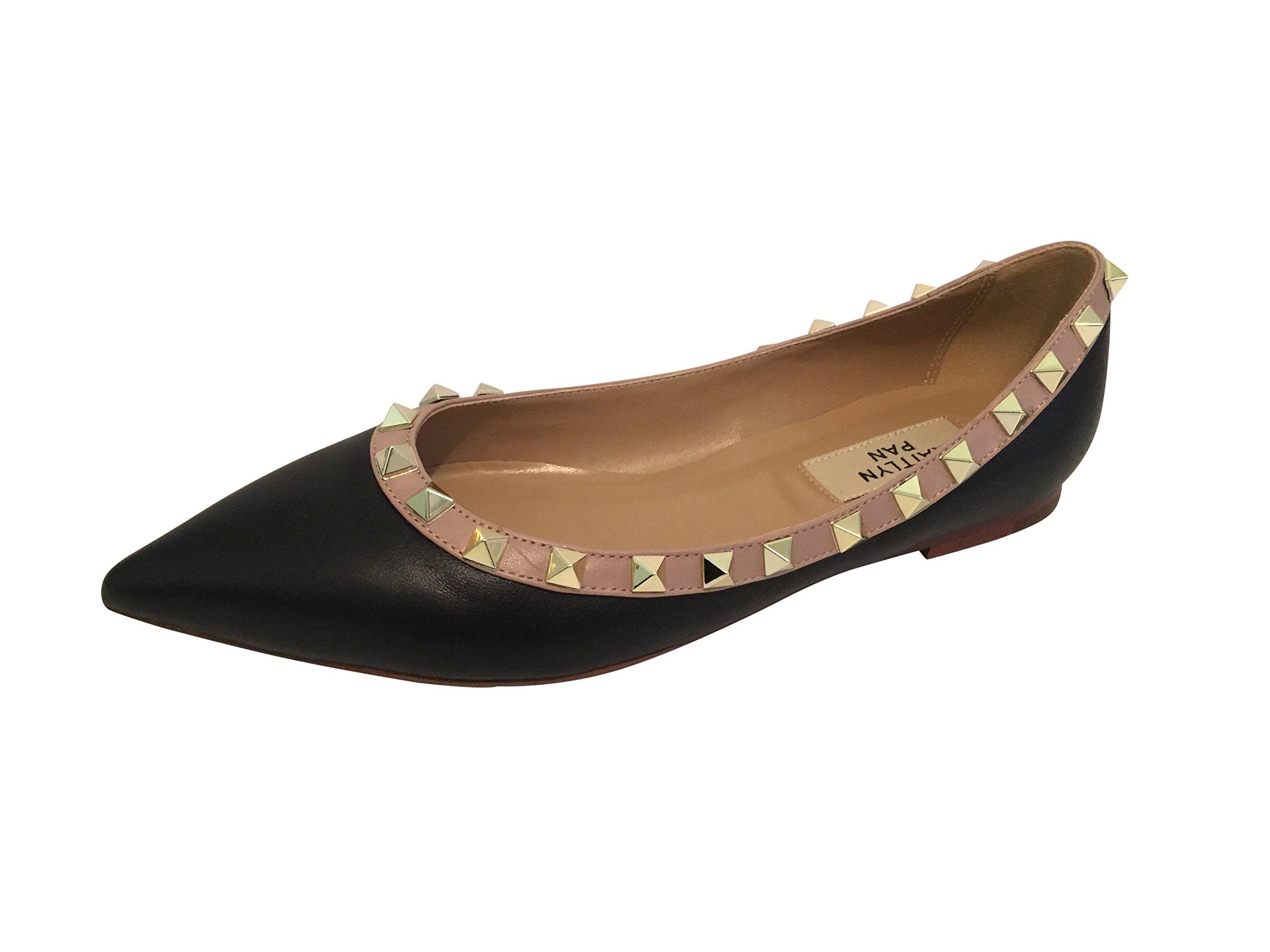 Kaitlyn Pan RockStud Ballerina Leather Flats,Black Matte/Nude Trim/Gold Studs,9US/ 40EU/ 41CN