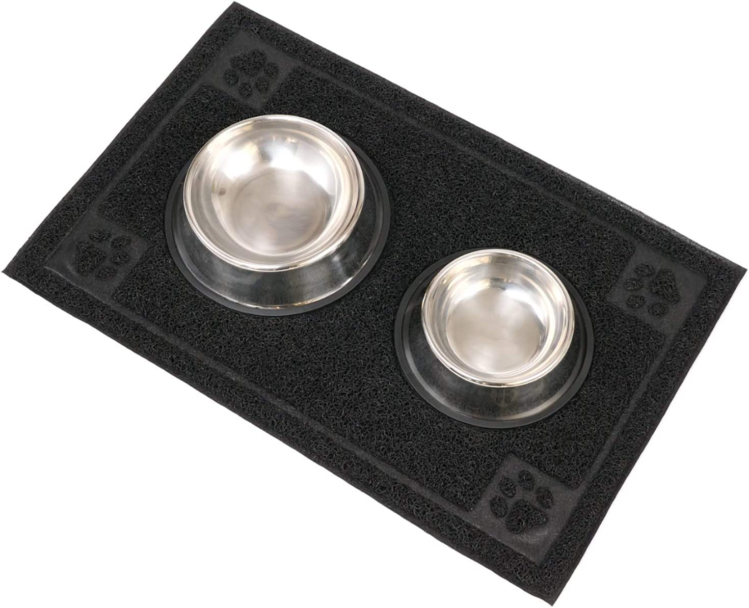 LAN SHAN QUE Dog Bowls with Mat,Stainless Steel Dog Food Bowls,No Spill Non-Skid Large Pet Food Mat 18x28 with Removable Double Feeder Bowl Easy to Clean for Small Medium Large Dogs Cats and Pets