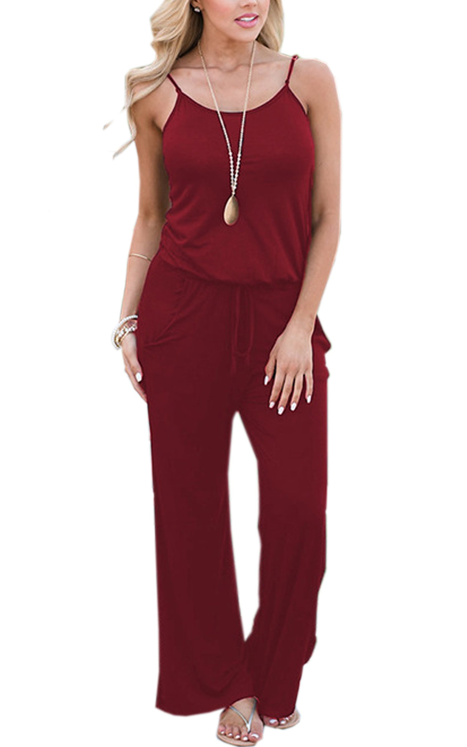 ECOWISH Womens Jumpsuits Summer Floral Printed Spaghetti Strap Sleeveless Casual Jumpsuit Rompers 0900 Wine Red S