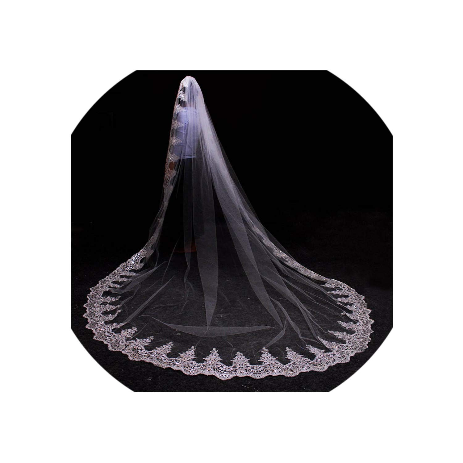 White 3 Meters White Ivory Cathedral Wedding Veils Long Lace Edge Bridal Veil With Comb Wedding Accessories Bride,White,500Cm